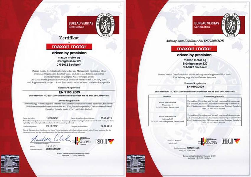Certificado de calidad maxon motor